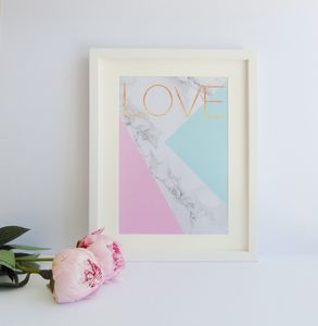 Abstract Marble And Pastel Love Print