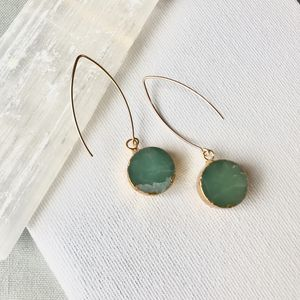 Mini Circle Mint Jade Dropper Earrings