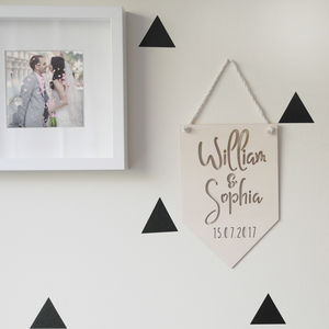 Personalised Wedding Wooden Hanging Flag Sign - hanging decorations
