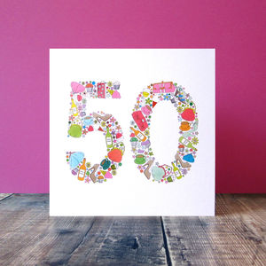 Girlie Things 50th Birthday Card - summer sale