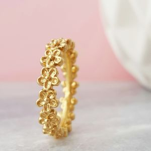 Yellow Gold Vermeil Garland Flower Ring - rings