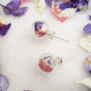 Sterling Silver Glass And Berry Pink Petal Studs