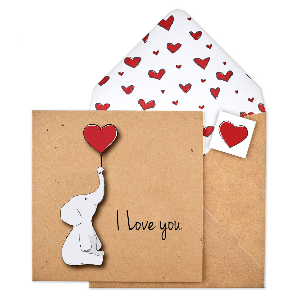 i love you elephant valentines personalised card by tache – Elephant Valentines Card