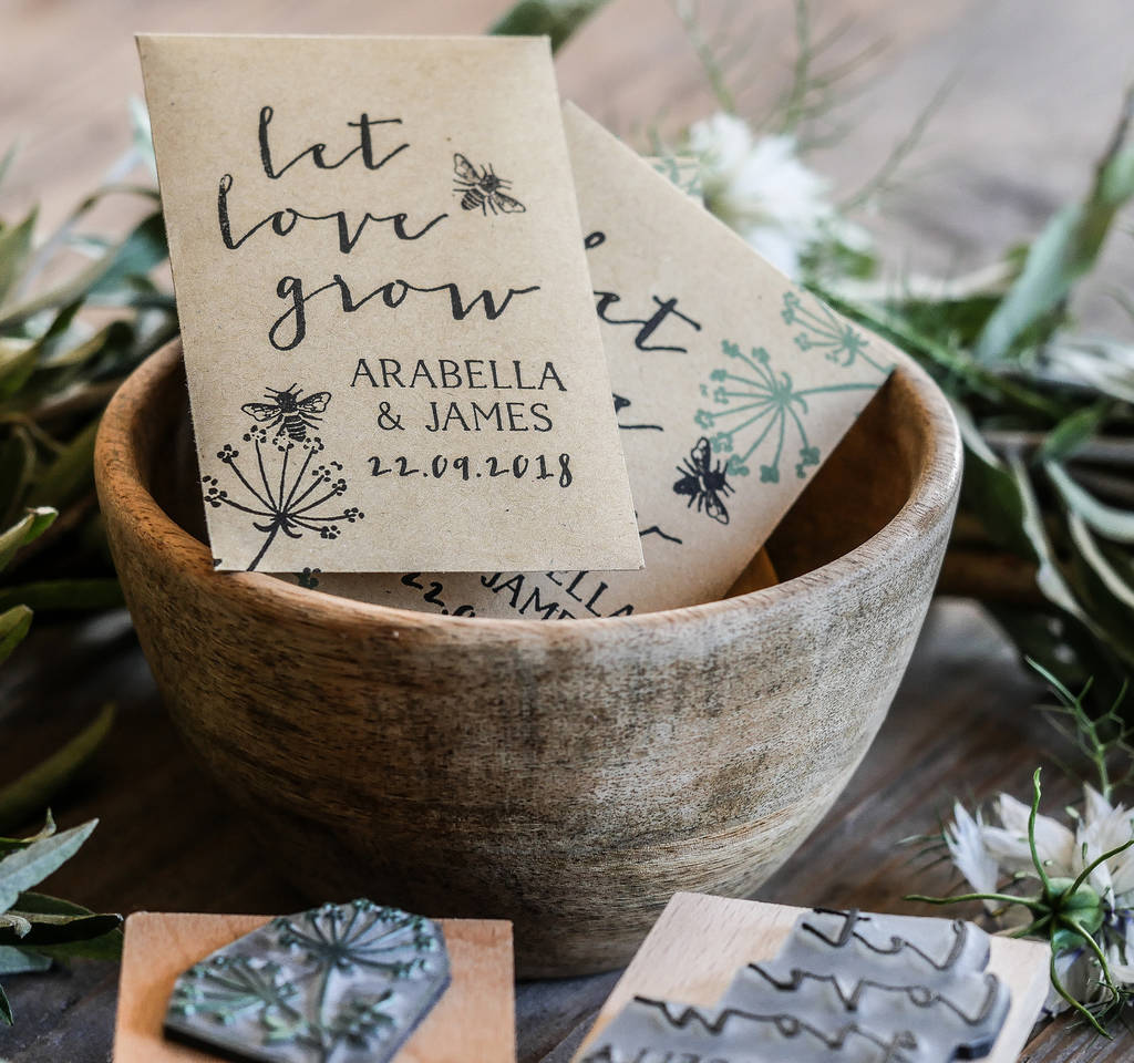 Let Love Grow Wedding Favour Stamp By English Stamp