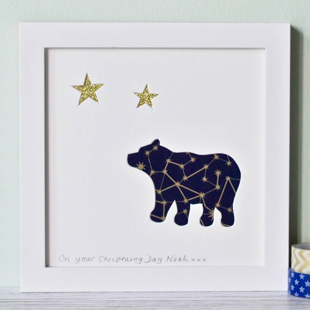 Personalised Framed Baby Bear Cut Out Picture