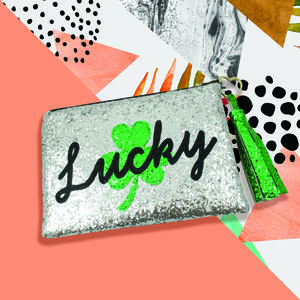 Lucky Shamrock Glitter Clutch Bag