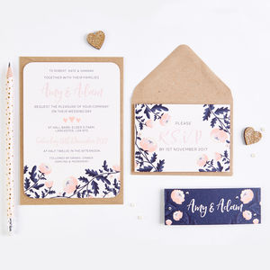 Blush And Navy Floral Wedding Invitation Bundle - invitations