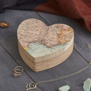Personalised Map Heart Shape Birthday Jewellery Box - jewellery storage & trinket boxes