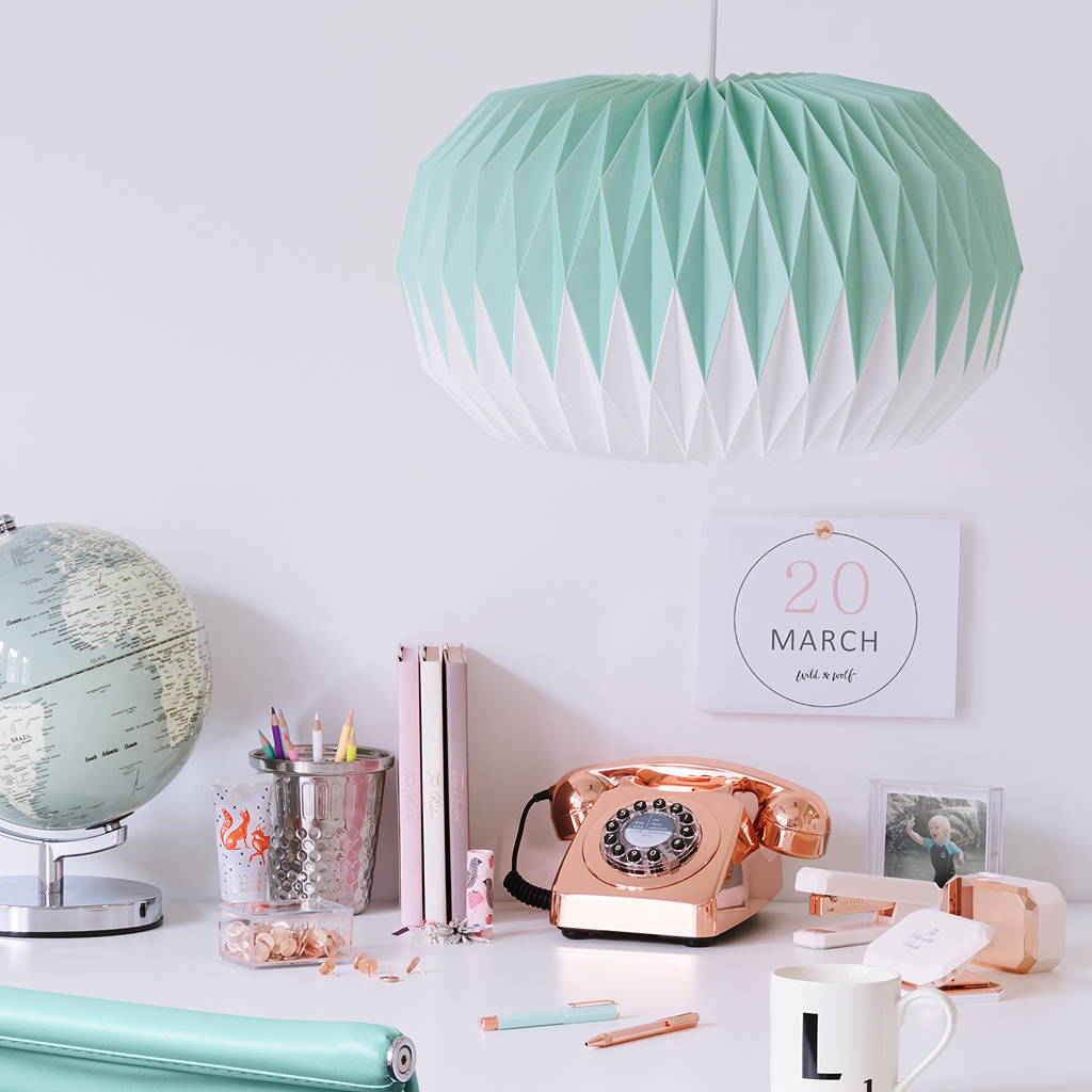Paper Origami Style Lampshade In Mint Green