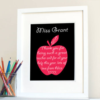 Thank You Teacher Personalised Apple Print
