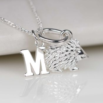 Personalised Solid Silver Hedgehog Necklace