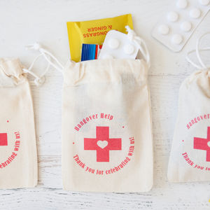 'Hangover Help' Fairtrade Cotton Pouch - wedding favours