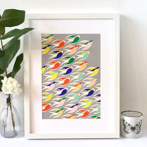 Multicoloured Birds In Flight Art Print, Illustration