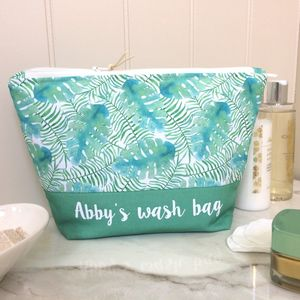Personalised Tropical Design Wash Bag