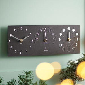 Eco Recycled Moon Phase, Clock And Thermometer