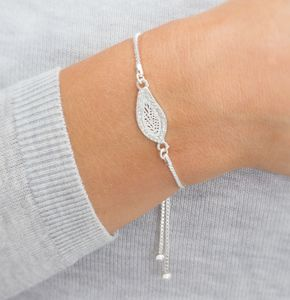 Personalised Pave Filigree Leaf Bracelet