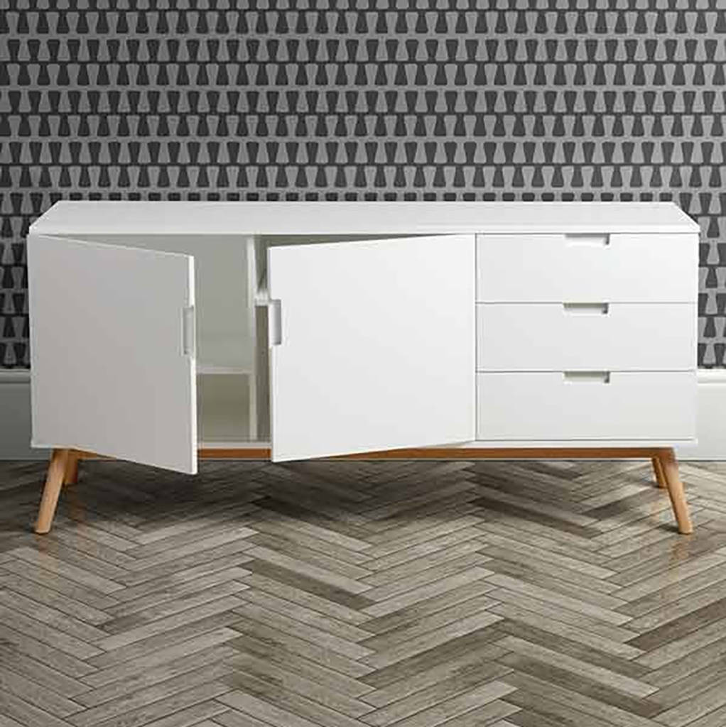 mid century white oak sideboard by i love retro. Black Bedroom Furniture Sets. Home Design Ideas