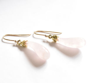 18 Carat Gold Diamonds And Rose Quartz Earrings