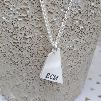 Mens Sterling Silver Personalised Geometric Necklace