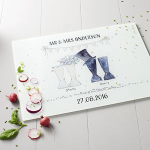 Wedding Personalised Welly Boot Chopping Board