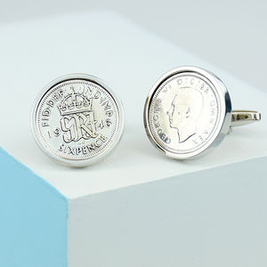 Sixpence 70th Birthday Coin Cufflinks