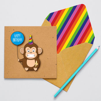 Handmade Cheeky Monkey Personalised Birthday Card