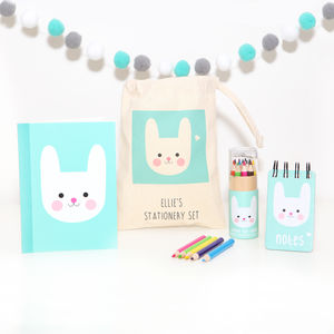 Bunny Stationery Set With Personalised Bag