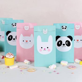 Set Six Animal Party Bags And Stickers