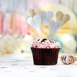 Gold Or Silver Glitter Heart Cake Toppers - decoration