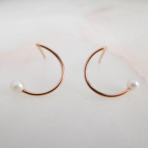 Mini Pearl Circle Studs - earrings