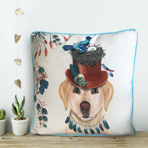 Yellow Labrador Cushion, The Milliners Dogs