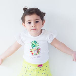 Pinapple Printed Baby Girl T Shirt - clothing