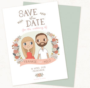 Save The Date Illustrated Couple
