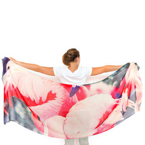Womens Printed Florida Flamingos Cashmere Silk Scarf