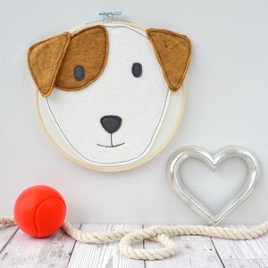 Handmade Dog Head Embroidery Hoop - mixed media pictures for children