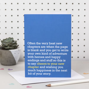 'Cheers To Your New Chapter' Card - good luck cards