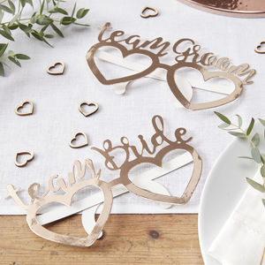 Rose Gold Team Bride/Groom Wedding Day Fun Glasses