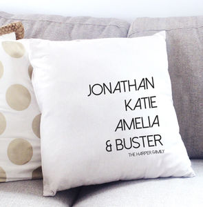 Favourite People Personalised Family Cushion - living room