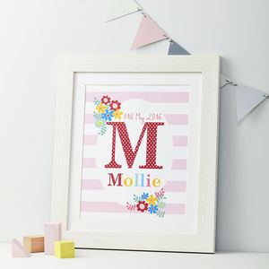 Girls Personalised Initial And Name Framed Print