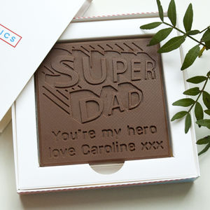 Personalised 'Super Dad' Father's Day Chocolate Card - novelty chocolates