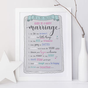 Personalised Happy Marriage Wedding Print