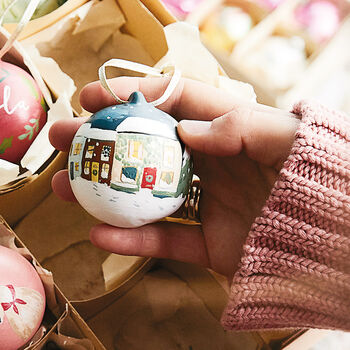 Hand Painted Winter Scene Bauble