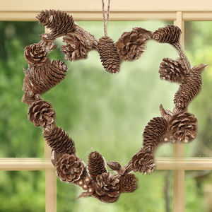 A Touch Of Sparkle Golden Pine Cone Heart Wreath - wreaths