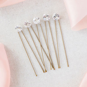 Set Of Five Simplicity Diamante Hairpins - wedding jewellery
