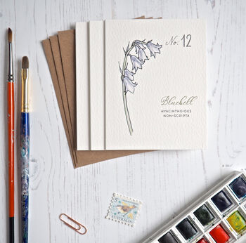 Set Of Three Watercolour Bluebell Mini Notecards