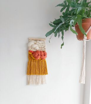 Neutral And Colour Pop Small Woven Wall Hanging