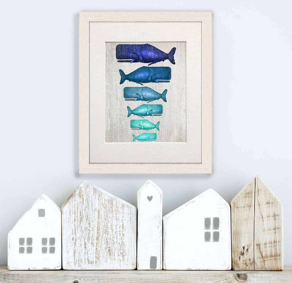 Blue Whale Family, Nautical Print