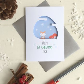 Personalised Baby's First Christmas Fox Card