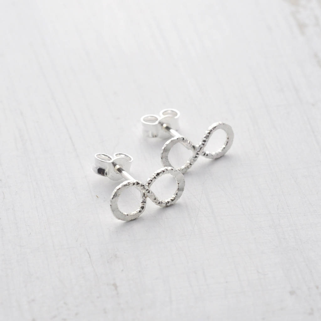 silver azendi earrings stud jewellery infinity