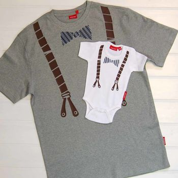 Dad And Child Bow Tie And Braces T Shirt /Babygrow Set